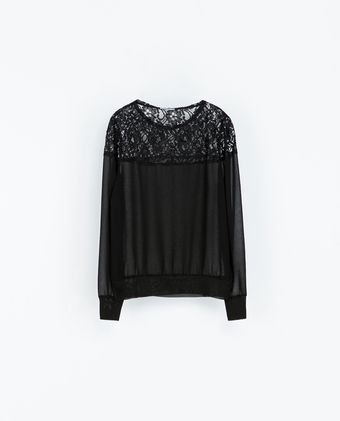 Zara Cut Work Hem Blouse - Lyst