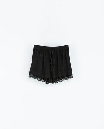 Zara Lace Trim Shorts - Lyst