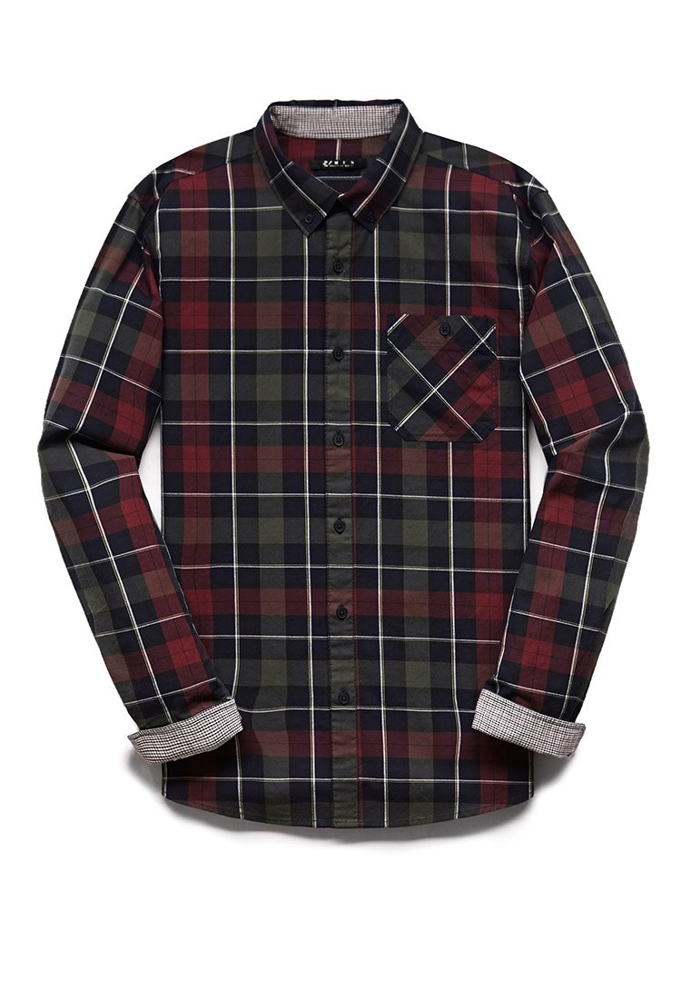 Lyst - Forever 21 Tartan Plaid Shirt in Red for Men