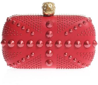 Alexander McQueen Britannia Studded Leather Box Clutch - Lyst