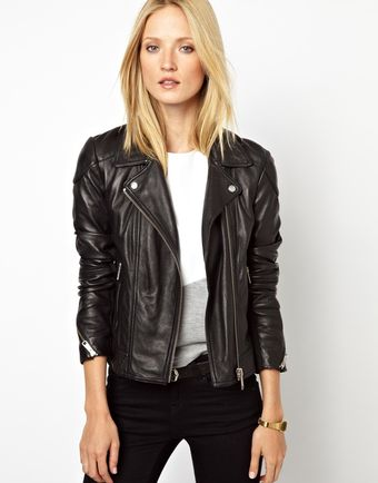 Asos Whistles Lita Leather Biker - Lyst