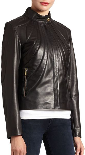 Badgley Mischka Selma Leather Jacket - Lyst