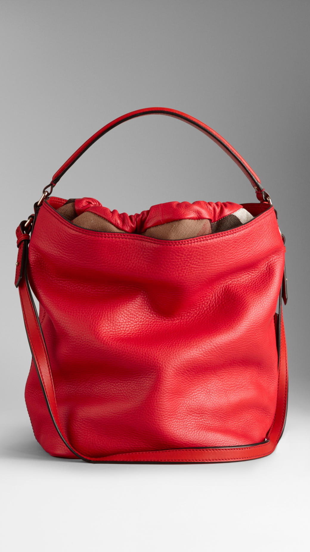 1d5a307fa554 Lyst - Burberry Medium Brit Check Leather Hobo Bag in Red