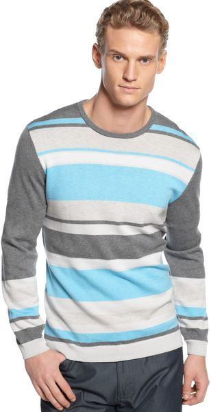 Calvin Klein Textured Stripe Crew Neck Sweater - Lyst