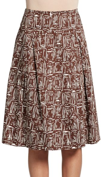 Carolina Herrera Scalloped Paneled Print Skirt - Lyst