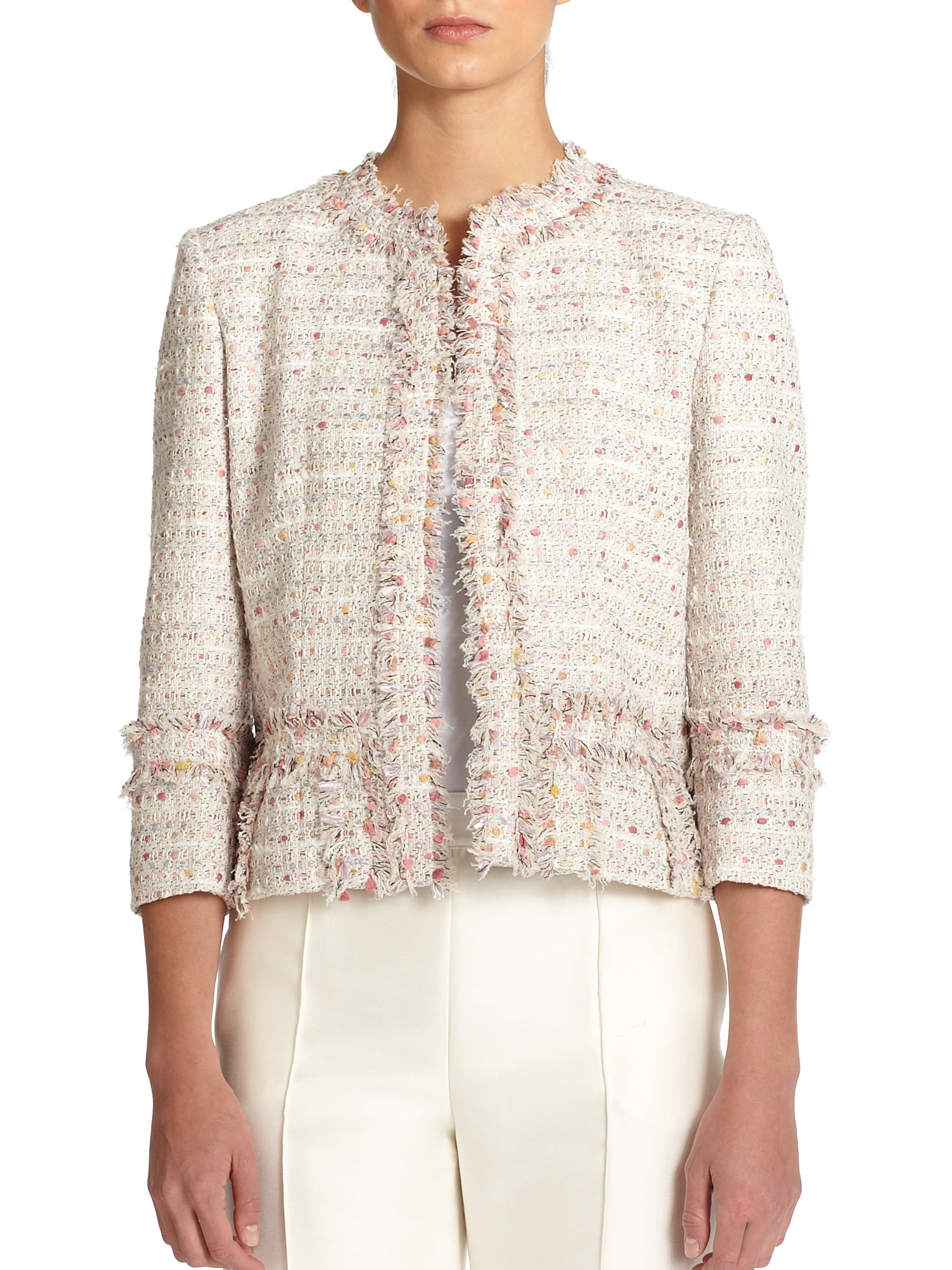 Lyst - Carolina herrera Boucle Jacket in Natural