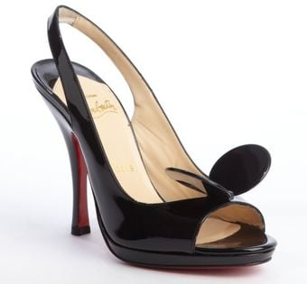 Christian Louboutin Black Patent Leather Miss Mouse Slingback Pumps - Lyst