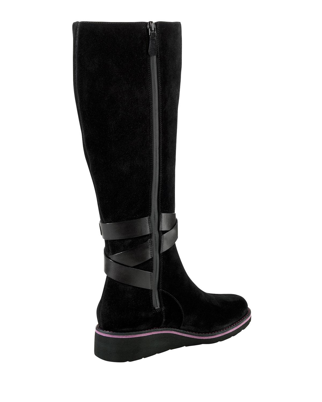 cole haan gerina suede knee boot in black lyst