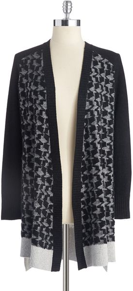 DKNY Houndstooth Embroidered Cardigan - Lyst