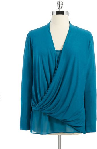 DKNY Wrap Front Mixed Media Top - Lyst