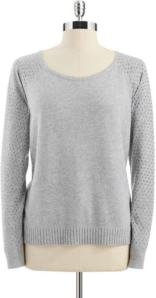 DKNY Sweater with Studded Sleeves - Lyst