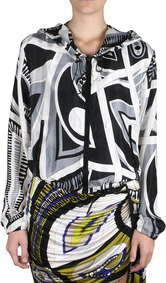 Emilio Pucci Printed Silk Jacket with Hood - Lyst