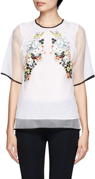 Erdem Voni Floral Embroidery Silk Top - Lyst