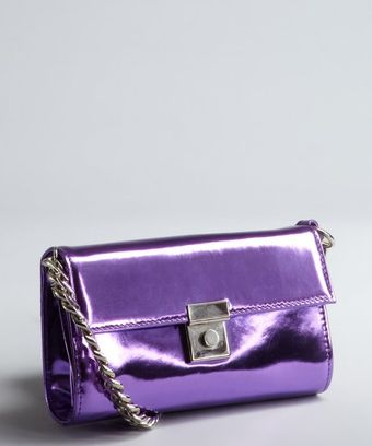 Giuseppe Zanotti Purple Patent Leather Chain Shoulder Bag - Lyst