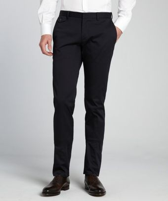 Gucci Navy Cotton Blend Flat Front Pants - Lyst
