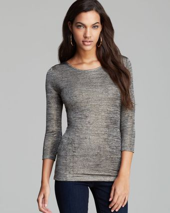 Guess Top Foiled Marled Jersey - Lyst