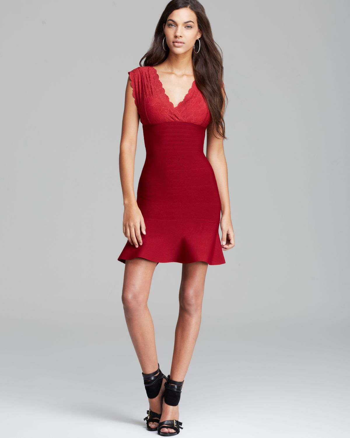 Guess Dress Lace Bandage Mix in Red