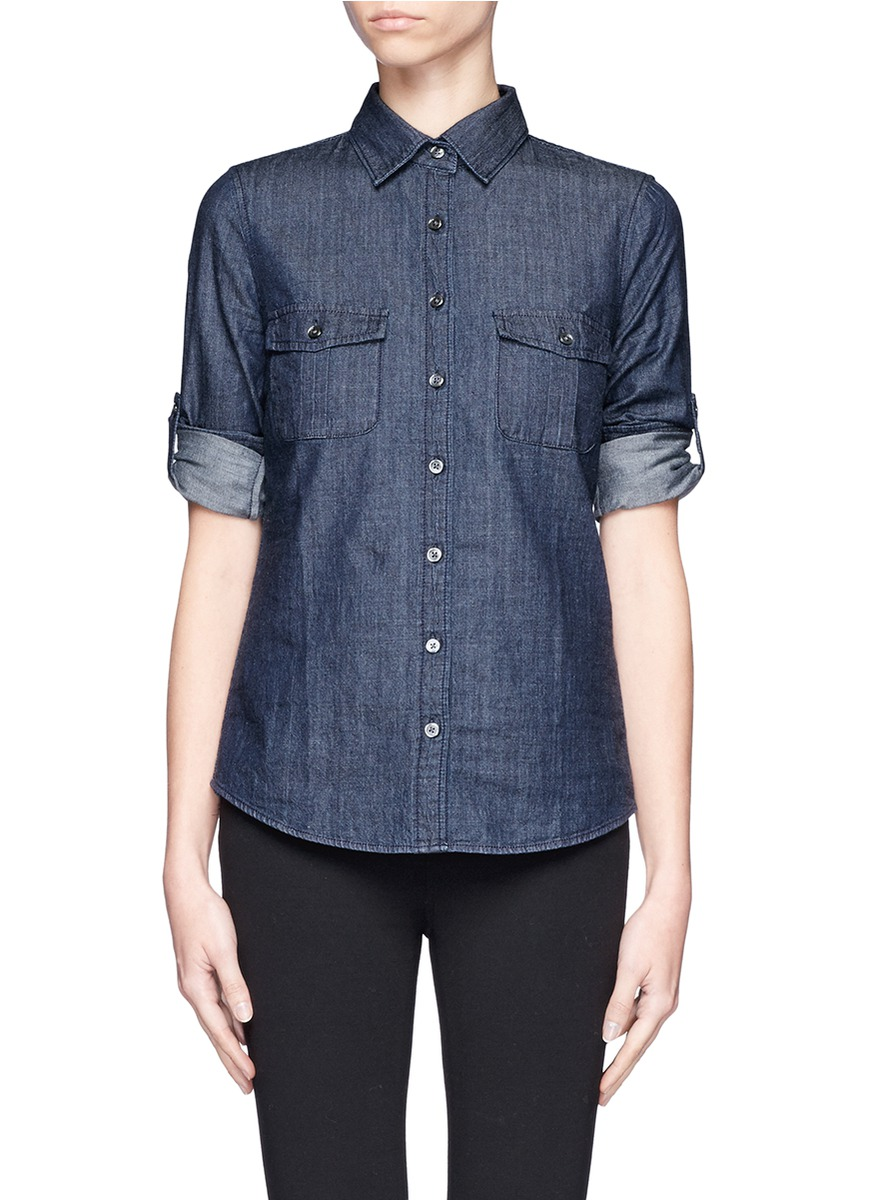 keeper chambray shirt in dark rinse in blue lyst