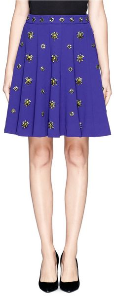 J.Crew Collection Jeweled Crepe Skirt - Lyst