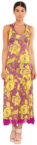 Jean Paul Gaultier Flower Viscose Tank Vneck Long Dress - Lyst