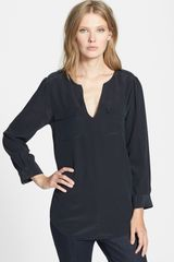 Joie Marlo Silk Split Neck Top - Lyst