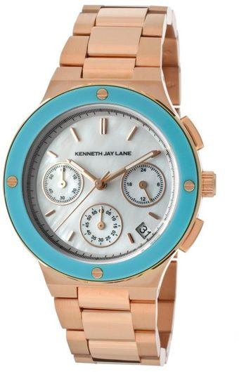 Kenneth Jay Lane Womens Chronograph White Mother Of Pearl Dial Rose Gold Tone Ion Plated Stainless Steel Kjlane Watch - Lyst