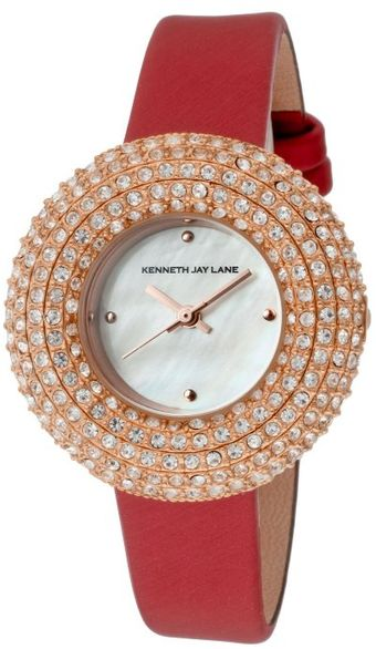 Kenneth Jay Lane Womens Crystal White Mop Dial Red Satin Kjlane05 Watch - Lyst