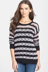 Kensie Stripe Open Knit Sweater - Lyst