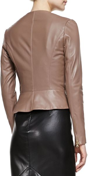 L'Agence Collarless Fitted Leather Jacket - Lyst