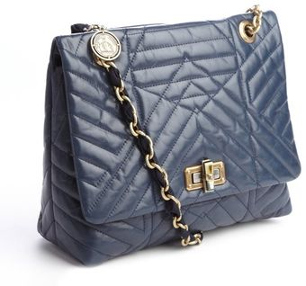 Lanvin Navy Blue Quilted Calfskin Happy Shoulder Bag - Lyst