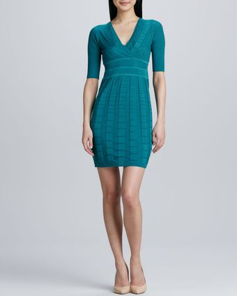 M Missoni Chevron Knit Halfsleeve Vneck Dress - Lyst
