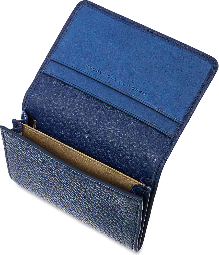 Lyst - Marc by marc jacobs Classic Leather Card Holder in Blue for Men