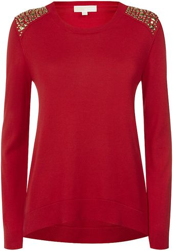 Michael by Michael Kors Stud Shoulder Jumper - Lyst