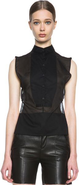 Mm6 By Maison Martin Margiela Sleeveless Tuxedo Top - Lyst