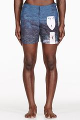 Orlebar Brown Navy and White The Jetty Set Print Bulldog Swim Shorts - Lyst