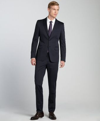 Prada Navy Stretch Cotton 2button Suit with Flat Front Pants - Lyst
