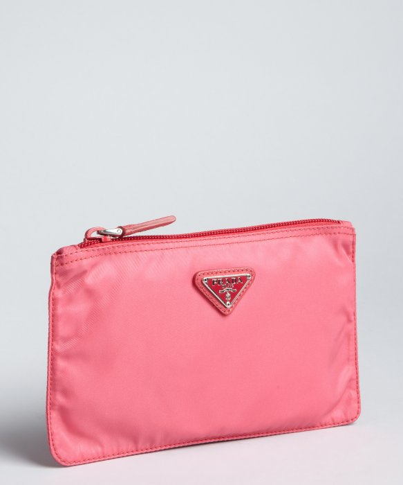 womens prada wallets - Prada Carnation Pink Nylon Zip Flat Cosmetic Pouch in Pink | Lyst