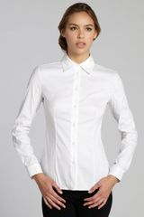 Prada White Stretch Cotton Button Front Blouse