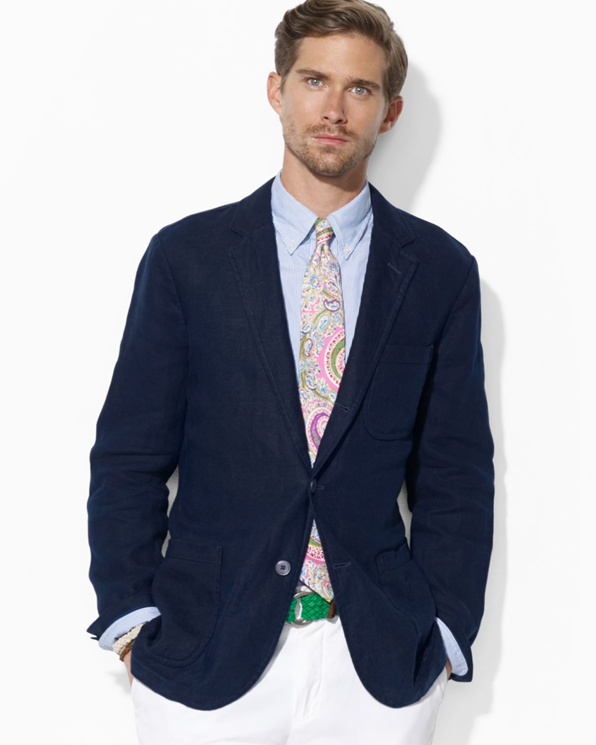 Ralph lauren Polo Crestpatch Linen Sport Coat in Blue for Men | Lyst