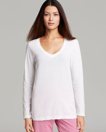 Ralph Lauren Essential V-Neck Long Sleeve Top - Lyst