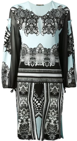 Roberto Cavalli Baroque Shift Dress - Lyst