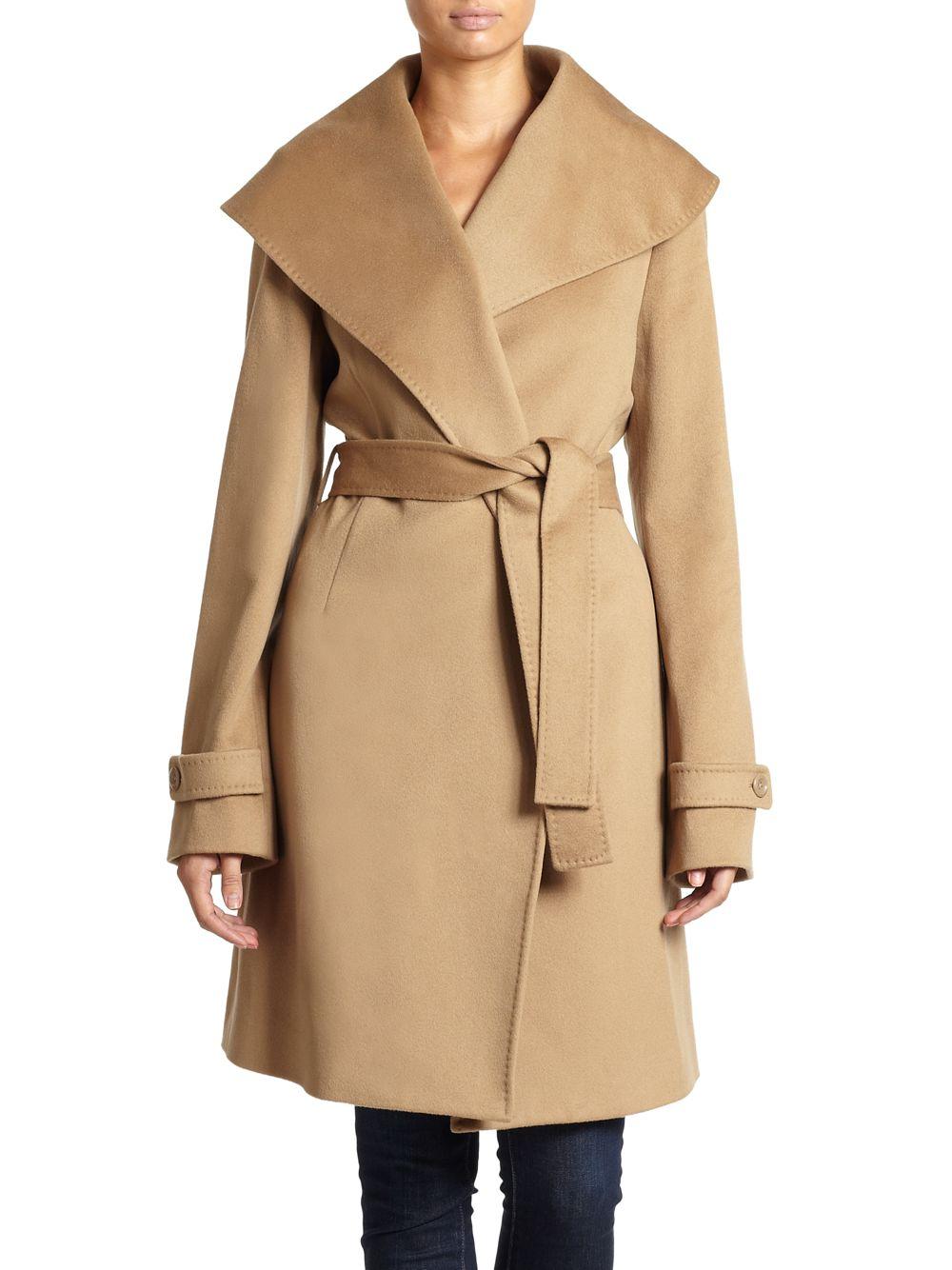 Lyst Saks Fifth Avenue Black Wool Tiewaist Shawl Collar