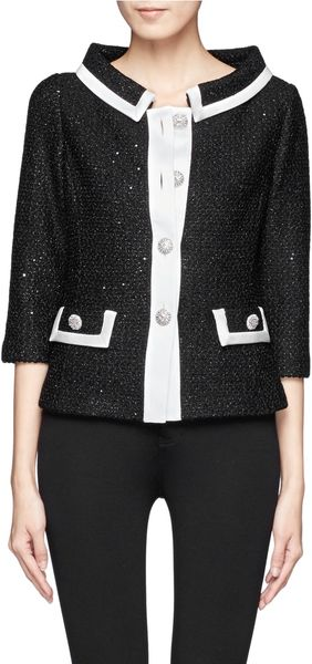 St. John Scallop Knit Jacket - Lyst
