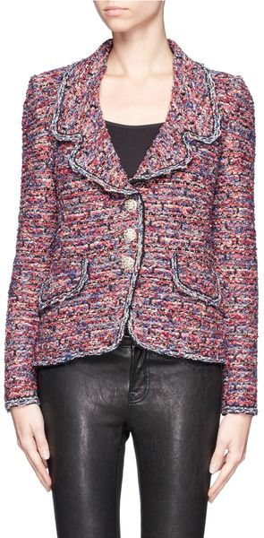 St. John Crystal Button Tweed Jacket - Lyst