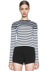 T By Alexander Wang Engineered Stripe Crop Tee - Lyst