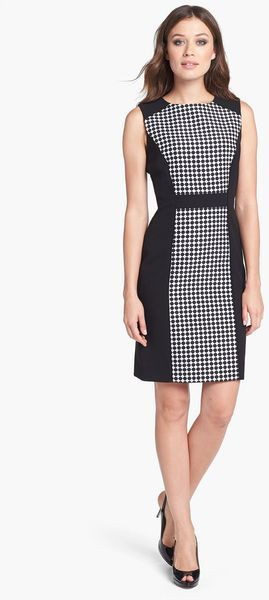 Tahari Jacquard Scuba Sheath Dress - Lyst