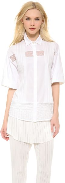 Thakoon Shadow Stripe Lace Shirt - Lyst