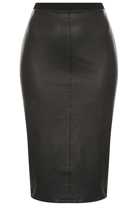 Topshop Petite Moto Pu Front Pencil Skirt in Black | Lyst