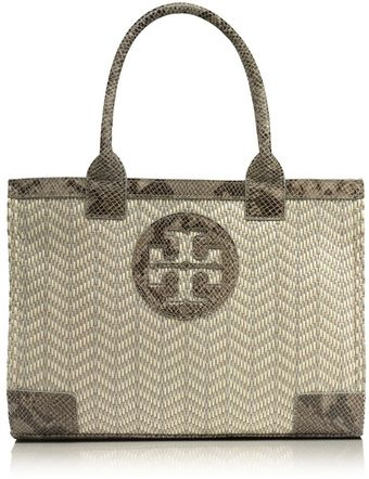 Tory Burch Mini Ella Snake Trim Tote - Lyst