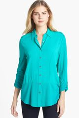 Two By Vince Camuto Button Front Mixed Media Blouse - Lyst